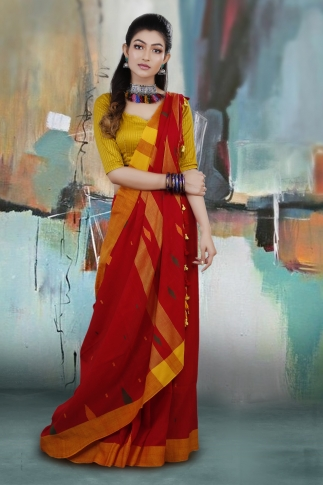 Red and Yellow Border Hand Woven Pure Cotton Saree