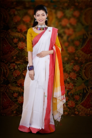 White Bengal Hand Woven Saree With Red Border