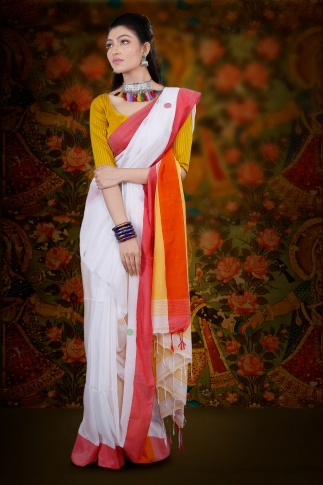 White Bengal Hand Woven Saree With Red Border 1