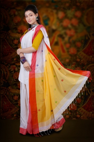 White Bengal Hand Woven Saree With Red Border 2