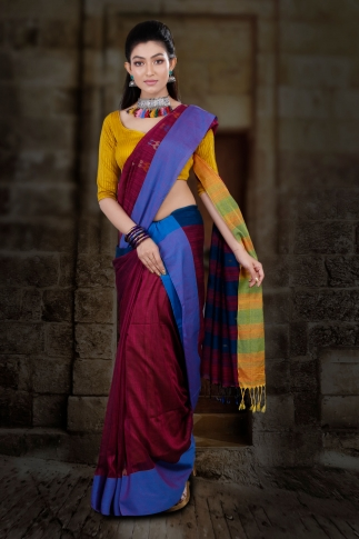 Wine Hand Woven Blended Cotton Saree With Runing Blouse Piece