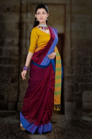 Wine Hand Woven Blended Cotton Saree With Runing Blouse Piece 1