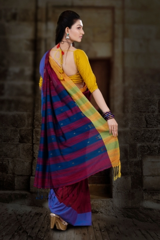 Wine Hand Woven Blended Cotton Saree With Runing Blouse Piece 2