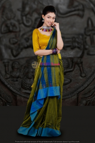 Mehendi Green with Blue Border Hand Woven Blended Cotton Saree 1