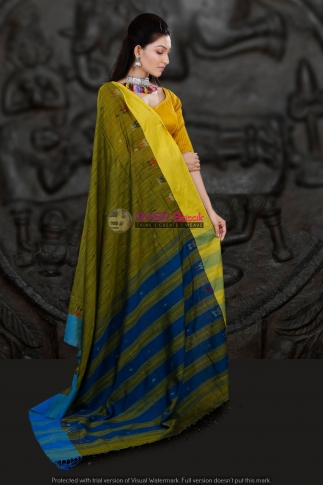 Mehendi Green with Blue Border Hand Woven Blended Cotton Saree 2