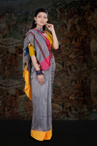 Grey Body With Yellow and Red Border Hand Woven Blended Cotton Saree With Runing Blouse Piece