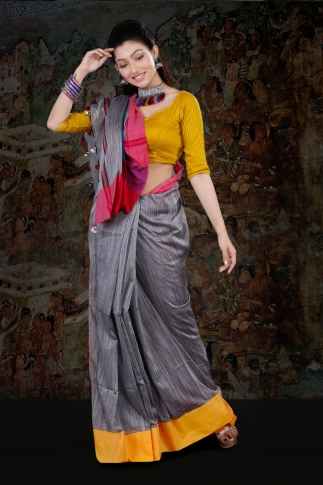 Grey Body With Yellow and Red Border Hand Woven Blended Cotton Saree With Runing Blouse Piece 1