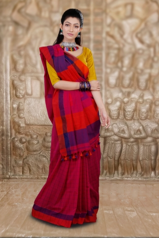 Dark Pink Hand Woven Cotton Saree and Contrast Purple Blouse