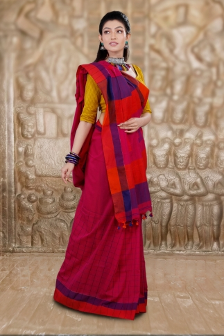 Dark Pink Hand Woven Cotton Saree and Contrast Purple Blouse 1