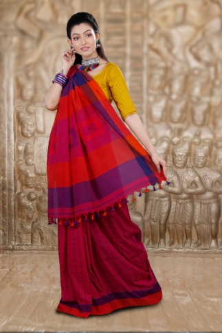 Dark Pink Hand Woven Cotton Saree and Contrast Purple Blouse 2