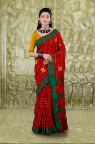 Red Hand Woven Cotton Saree With Green Border and Runing Blouse