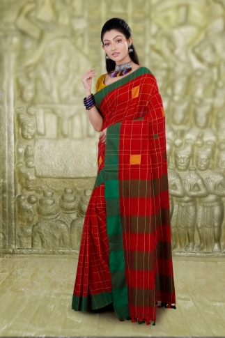 Red Hand Woven Cotton Saree With Green Border and Runing Blouse 1