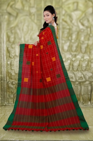 Red Hand Woven Cotton Saree With Green Border and Runing Blouse 2