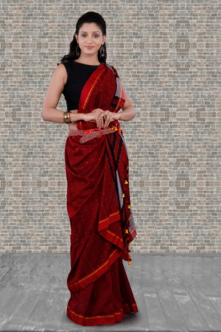 Red Bengal Hand Woven Saree With Pompom