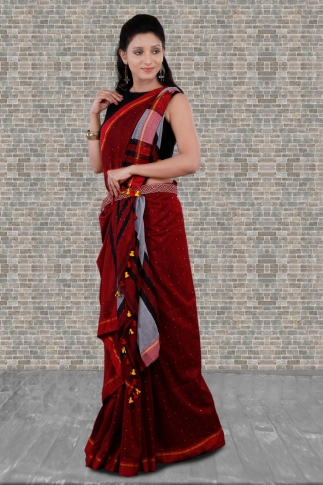 Red Bengal Hand Woven Saree With Pompom 1