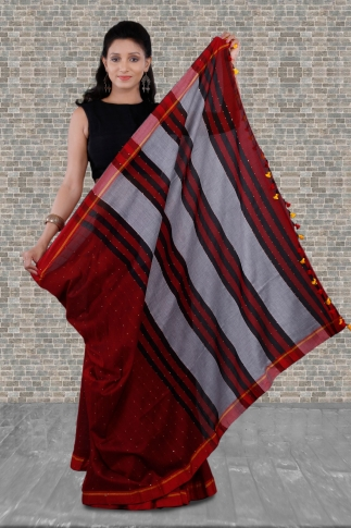 Red Bengal Hand Woven Saree With Pompom 2