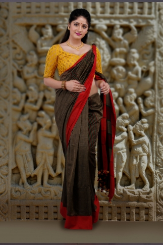 Metalic Golden Body With Red Border Hand Woven Pure Cotton Saree 1