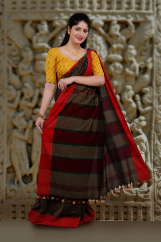Metalic Golden Body With Red Border Hand Woven Pure Cotton Saree 2
