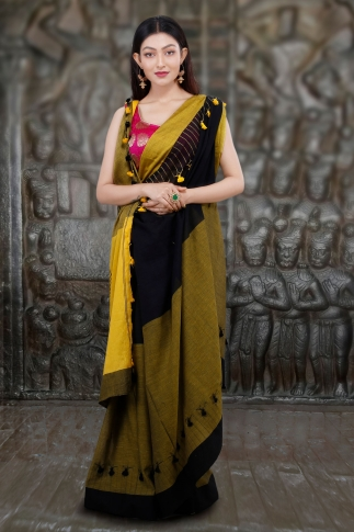 Yellow And Black Hand Woven Pure Cotton Saree