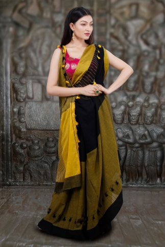 Yellow And Black Hand Woven Pure Cotton Saree 1