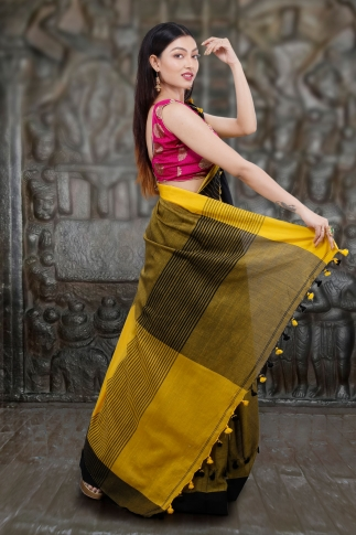 Yellow And Black Hand Woven Pure Cotton Saree 2