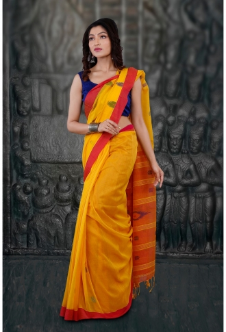 Bengal Handloom Yellow and Red Hand Woven Pure Cotton Saree