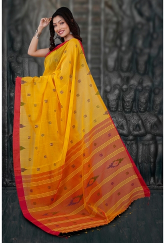 Bengal Handloom Yellow and Red Hand Woven Pure Cotton Saree 1