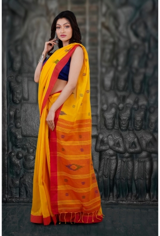 Bengal Handloom Yellow and Red Hand Woven Pure Cotton Saree 2