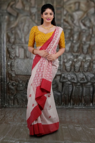 White and Red Hand Woven Pure Cotton Saree 1