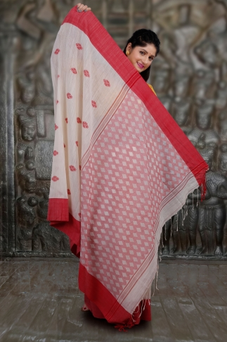 White and Red Hand Woven Pure Cotton Saree 2