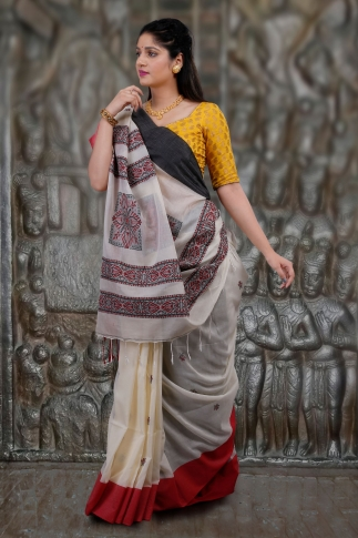 Off-White White Red and Black Border Hand Woven Pure Cotton Saree Fabricated on Pure Cotton