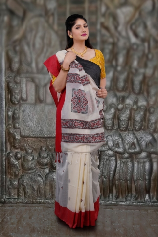 Off-White White Red and Black Border Hand Woven Pure Cotton Saree Fabricated on Pure Cotton 1