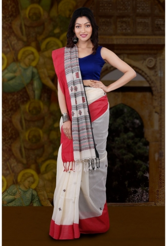Bengal Handloom White with Red and Black Border Hand Woven Pure Cotton Saree