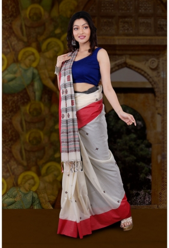 Bengal Handloom White with Red and Black Border Hand Woven Pure Cotton Saree 1