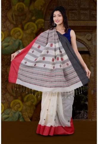 Bengal Handloom White with Red and Black Border Hand Woven Pure Cotton Saree 2