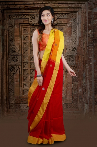 Red Bengal Hand Woven Saree With Yellow Border 1