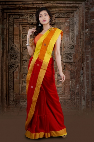 Red Bengal Hand Woven Saree With Yellow Border