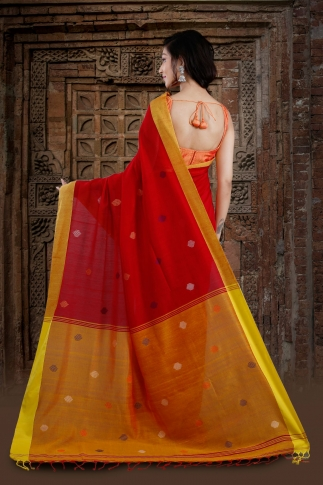 Red Bengal Hand Woven Saree With Yellow Border 2