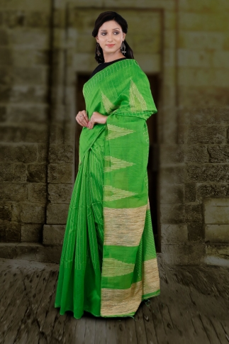 Green Hand Woven Blended Cotton Saree With Ghicha Work 1