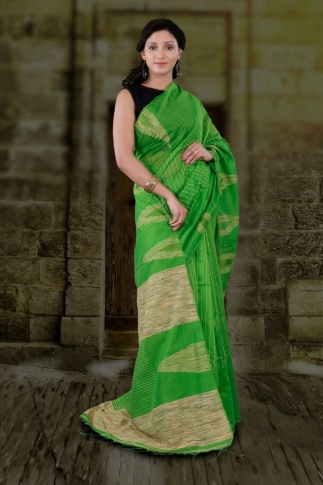 Green Hand Woven Blended Cotton Saree With Ghicha Work 2