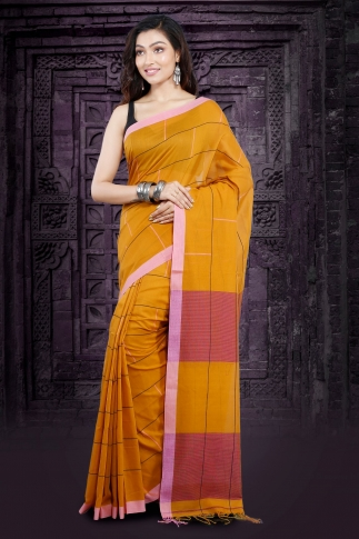 Yellow Bengal Hand Woven Saree With Pink Border