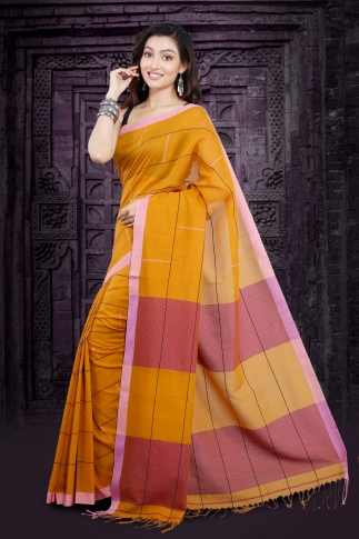 Yellow Bengal Hand Woven Saree With Pink Border 1