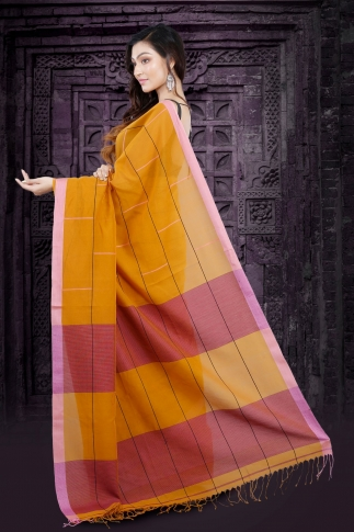 Yellow Bengal Hand Woven Saree With Pink Border 2