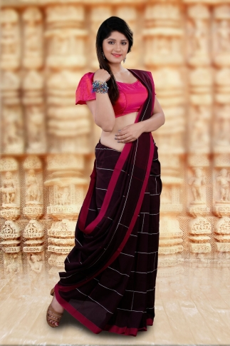 Brown Bengal Hand Woven Saree With Pink Border