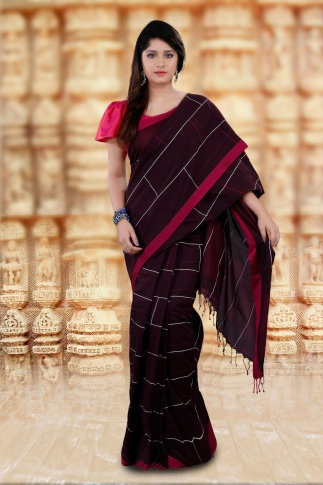 Brown Bengal Hand Woven Saree With Pink Border 1