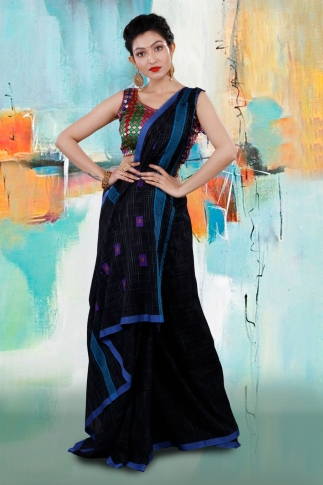 Black Bengal Hand Woven Saree With Blue Border