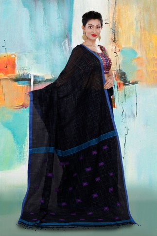 Black Bengal Hand Woven Saree With Blue Border 2