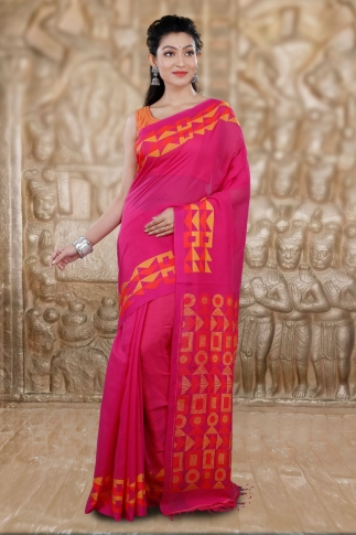 Pink Bengal Hand Woven Saree With Woven Design