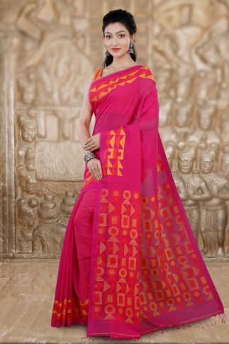 Pink Bengal Hand Woven Saree With Woven Design 1