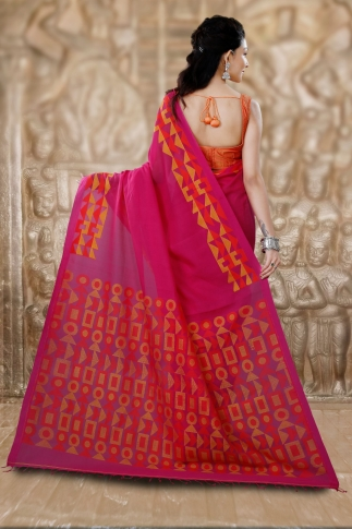 Pink Bengal Hand Woven Saree With Woven Design 2
